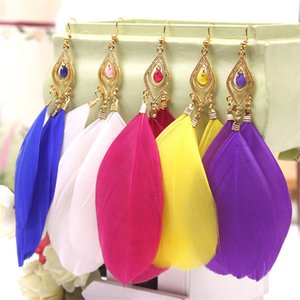 Wholesale Hot Fashion National Style Color Feather Earrings Jewelry Dress A Riot Of Colours CC0229