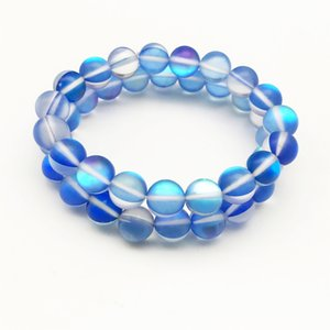Wholesale 10mm Matte Dark Blue Aura Quartz Bracelet Gemstone Bracelet Holographic Round Beads Elastic Bracelet Good Luck Bracelet