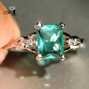 Wholesale YaYI Jewelry Princess Cut CT Green Zircon Silver Filled Engagement Rings wedding Heart Rings Valentine s Day Girls ring