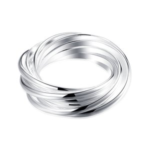 Wholesale ring sterling silver resale online - Plated sterling silver Nine circle ring DHSR07 US size Brand new unisex silver plate Band Rings jewelry
