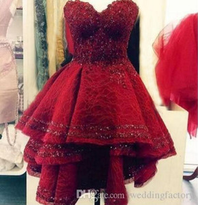 Dark Red Short Prom Dresses Cocktail Dresses Lace Sequins Party Dress Sweetheart Major Beading Women Dresses For Special Occasion