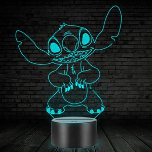 Wholesale 3D LED Lamp Bedroom Stitch Table Night Light Acrylic Panel USB Cable Colors Change Base Lamp Kids Gift Drop Shipping