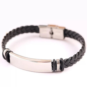 Wholesale Export PU Leather Knitting Rope Bracelets Titanium Steel Bangle Stainless Steel Men Black Punk Bracelet Hand Ornament Hot Sale