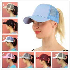 Wholesale Women Girls Ponytail Ball Cap Messy Bun Trucker Ponycap Plain Baseball Visor Cap Ponytail Snapbacks Basketball Hats Back Hole Pony Tail