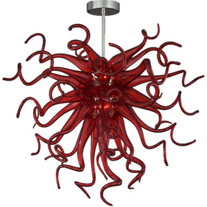 Wholesale lamps shades resale online - Red Blown Glass Chandeliers Ceiling for Home Decor Modern Pendant Lamp Mouth Blown Glass Red Pendant Lights Shade