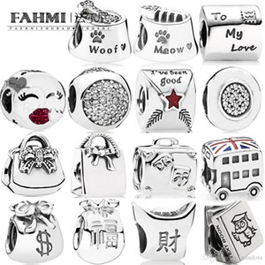 Wholesale FAHMI Sterling Silver Charm Moneybags Suitcase Study Book Money bag Union Jack Bus Shopping Bag Letter to Santa