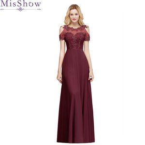 Wholesale New Arrival Long Prom Dresses Chiffon Sheer Neck Illusion Back Evening Formal Party Gown Beading Women Cold Shoulder Dress