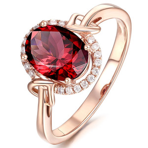 18k rose gold red crystal rings for women femme ruby gemstone engagement zircon diamond fashion party jewelry Christmas gift