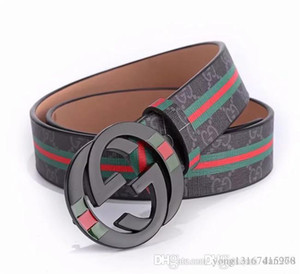 Wholesale Smooth buckle brand belt easy to match men s clothing belt new red stripe women s belt hot sale in Europe and America