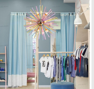 Wholesale children's clothes stores resale online - Nordic bar LED crystal chandelier modern children s room clothing store color decoration restaurant chandelier lighting LLFA