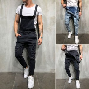Wholesale Men s Distressed Denim Carpenter Overalls Bib Jumpsuits Moto Biker Jean Pants