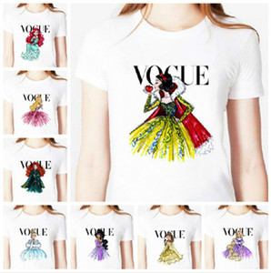 best shipping 2019 new Vogue princess print white Snow White T-shirt with short sleeves