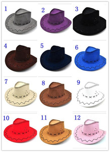 ingrosso cappelli da cowboy maschili-Cappello da cowboy Nuova pelle scamosciata Guarda selvaggio West Fancy Dress Mens Ladys Cowgirl Unisex Adulto Donne adulti Uomo bambini Visiera Cavaliere Cavaliere