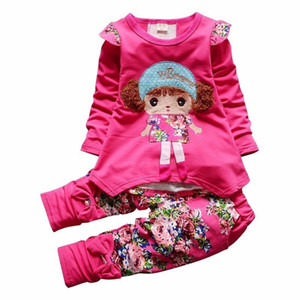 Wholesale Spring Autumn Kids Cartoon Girls Long Sleeve Flower T-shirt Pants 2pcs sets Infant Cotton Suits Children Clothes Tracksuit