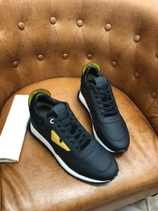 Wholesale 2019 Excellent quality Male casual Two tone sole shoes brand Bag Bugs eyes Men sneakers yellow inlays matt calf leather black suede lace up