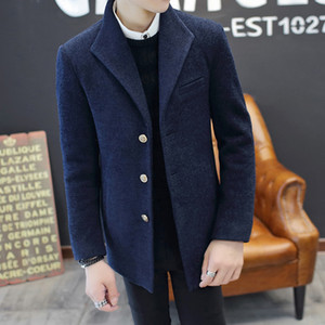 2019 New Winter Fashion Men's Solid Color single-breasted Coat Male Casual Slim Fit Male Long Woolen Cloth Standard Coat S-3XL