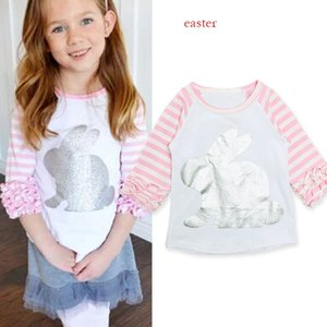 Wholesale Easter Day baby girl tops spring autumn new design bunny printed ruffle sleeve tops pink t shirts