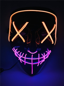 Halloween LED Purge Mask Light up Scary Mask Cool Costume EL Wire for Halloween Cosplay Festival Parties fit Adults Kids Raves Unisex