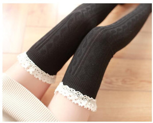 Wholesale Fashion Women Lace Over Knee high stockings Thigh high stocking design socks colors drop shipping cotton Black Cheap