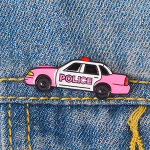 Pink Cartoon Pin ! Policeman Cop Sheriff Car Pins Enamel pins Lapel pins Badges Brooches for men women Gifts for Police Family