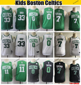 Wholesale 2019 Kids BostonCeltics Youth Irving Jaylen Brown Basketball Jersey Vintage Larry Bird nba Green Stitched Boys Jerseys S XL