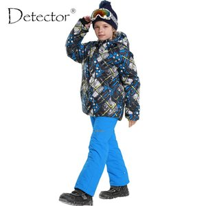 Wholesale Detector New Children s Ski Outdoor Wear Hooded Jackets Bandage Pants Kids snowboard Suits Baby Boys Winter Warm Sport Coat Sets