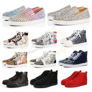 Wholesale 2019 Designer Shoes Studded Spikes Flats shoes Red Bottoms shoes luxury Mens Womens Party Lovers Genuine Leather Sneakers Size 36-46