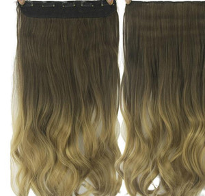 Europe and America hair piece dyed gradient hair curtain straight clip curtain T color hair extension wholesale free shipping on Sale