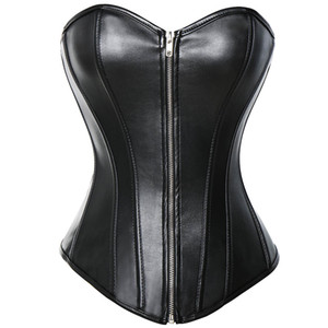 S-6XL Plus Size Black PVC Faux Leather Overbust Corset Bustier Front Zipper Corset Push up Bra Red Black LC5223