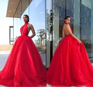 Wholesale 2019 Halter-Neck Red Prom Dresses Key Hole Bust Open Back Princess Organza Formal Evening Gowns Red Carpet Dress Cocktail Party Gowns