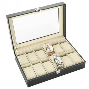 Wholesale 12 Slots Grid PU Leather Watch Display Box Jewelry Storage Organizer Case locked Watch Display Box
