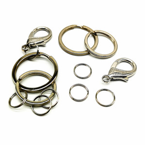 Wholesale Polished Silver Color Keyring Keychain Split Ring with Short Chain Key Rings Women Men DIY Key Chains Accessories Ys