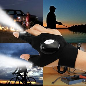 Wholesale Black Auto Repair Work Outdoors Fishing Survival Tool Creative Hiking LED Light Finger Lighting Glove