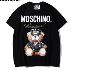 Wholesale New Tee black mosc cotton Bear pattern letter print short sleeve O neck T shirt men and women t shirt wear casual tee S XXL