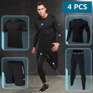 Wholesale 4PCS Reflective Running Set Men Compression Basketball Tights Quick Dry Gym Fitness Sportswear Soccer Jogging Running Dress Suit