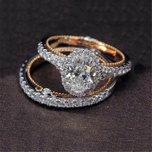 Wholesale LOREDANA Set Fashion Rose Gold Egg Shape Ring Creative Rings Sets For Engagement Wedding Jewelry Rings