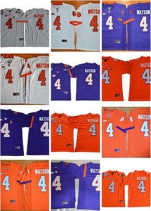 Wholesale 2019 Customized Clemson Tigers college football jerseys specially made custom personalized any name number DeShaun Watson white blue oran