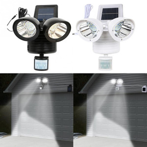 Wholesale 22LED Dual Head solar Powered garden light Flood light outdoors Security Lights PIR Motion Sensor Path Wall Lamps Emergency Floodlight