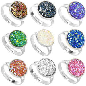 Wholesale 12mm Colors Silver Plated Resin Gemstone Stone Druzy Crystals Sizeable Cocktail Rings Women Girl Brithday Cocktail Ring Christmas Gift