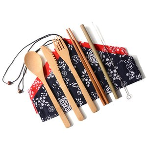 Portable Reusable Tableware Set Outdoor Travel Wooden Cutlery Set Knife Fork Spoon Straw Chopsticks With Packed Bag TTA1354
