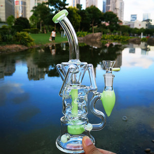 Fab Egg Double Recycler Bongs Turbine Perc Glass Bong Green Purple Pink Unique Oil Dab Rigs 14mm Joint Water Pipes With Heady Bowl