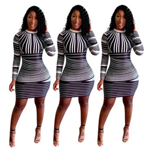 Wholesale Womens Casual Printed Dresses Fashion Slim Tight Long Sleeve Zipper Bodycon Dress Sexy Club Party Spring Autumn Plus Size Clothing S XL