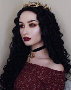Wholesale High quality Fashion Cosplay black long curly hair matt chemical fiber front lace African curly wig simulated human hair wig