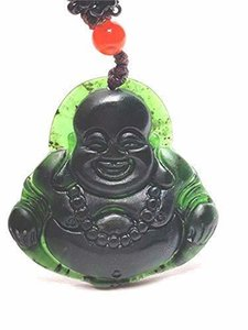 Wholesale jade buddha chains pendants resale online - Natural Black Green Jadeite Jade Buddha Pendant Necklace Sweater Chain Jewelry Gift