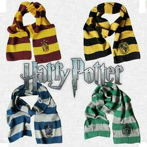 Harry Potter College Scarf Gryffindor Slytherin Hufflepuff Ravenclaw Knitted Neckscarf With Badge Cosplay Scarves Party Favor ZZA1271 60pcs