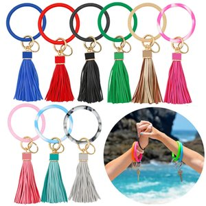 Circle Silicone Bracelet Keychain Fashion Solid Color Glitter Bracelets Key Ring Bangle Key Holder Halloween Party Gift TTA1902