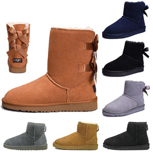 New Arrival WGG Women boots Short Mini Australia Knee Tall Winter Snow Boots Designer Bailey Bow Ankle Bowtie Black Grey chestnut size 5-10