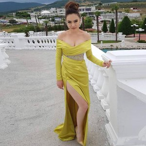 Sexy Off the Shoulder Yellow Prom Dresses Beaded Fashion High Side Split Long Sleeve Sequined Ruched Party Gown Satin Cocktail Evening Dress on Sale