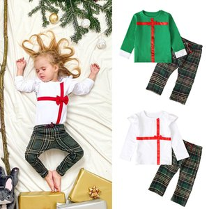 Wholesale fly boys resale online - Spring And Autumn Boys And Girls Bow Long sleeved Small Flying Sleeves Shirt Plaid Pants Two piece Kids Clothing Sets M329