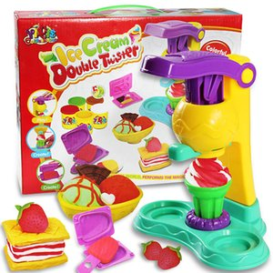 Wholesale TOP DIY Playdough Clay Dough Plasticine Ice Cream Mould Play Kit Diy Toy handmade Ice cream machine kitchen cook toy gift